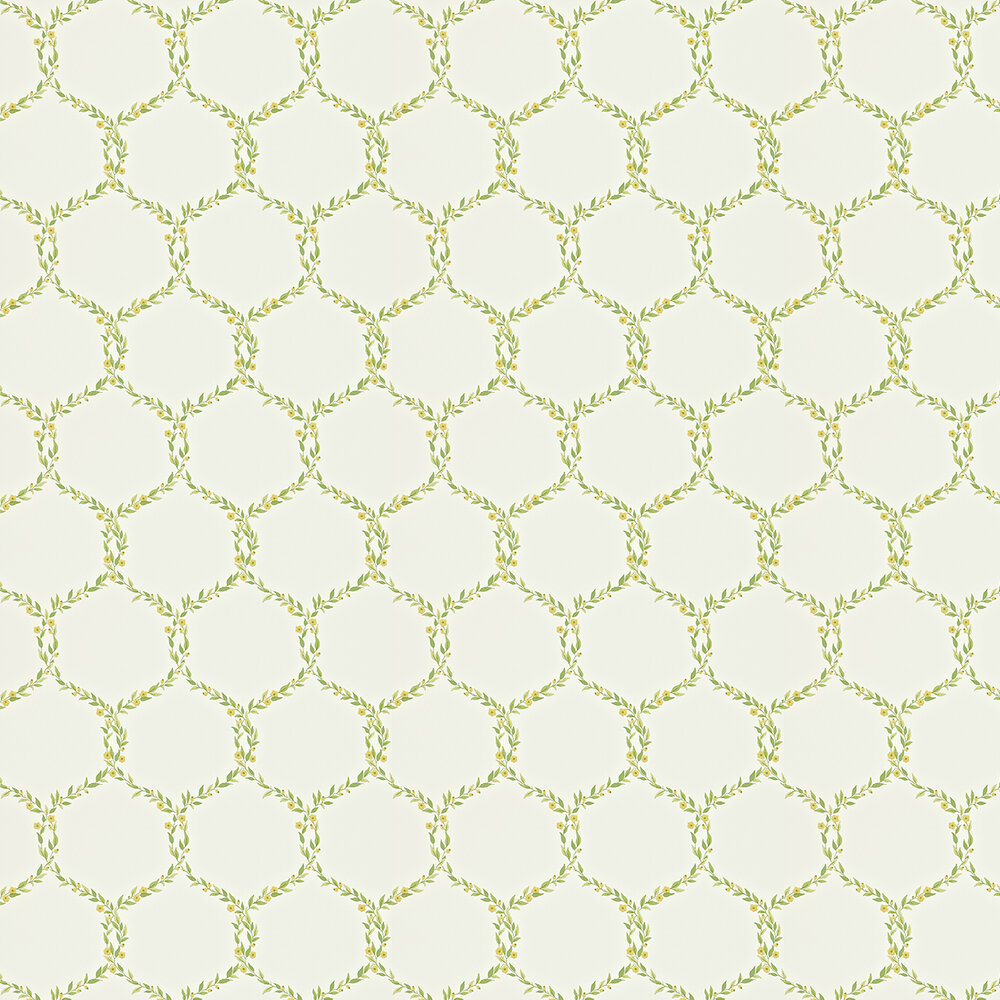 Sanderson Fleur Trellis Green / Yellow Wallpaper - Product code: 212008