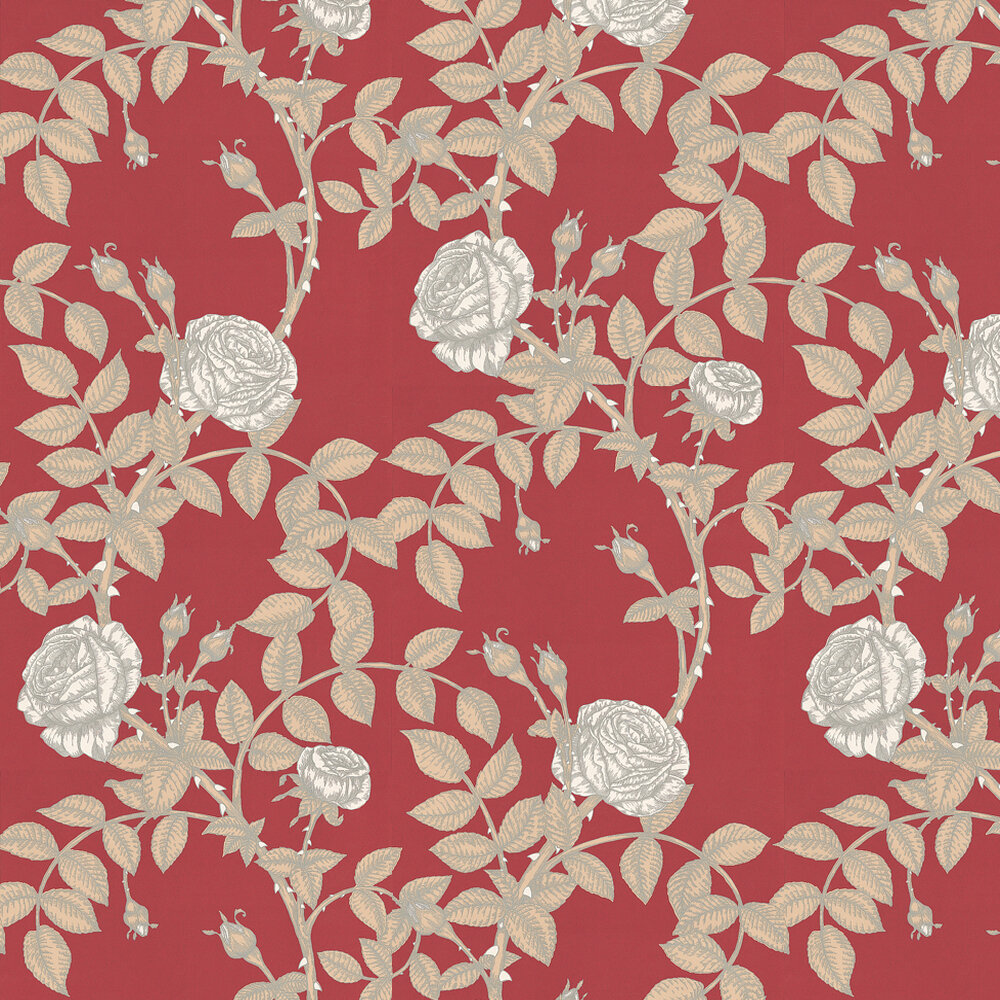 McGegan Rose Wallpaper - Red - by Timorous Beasties