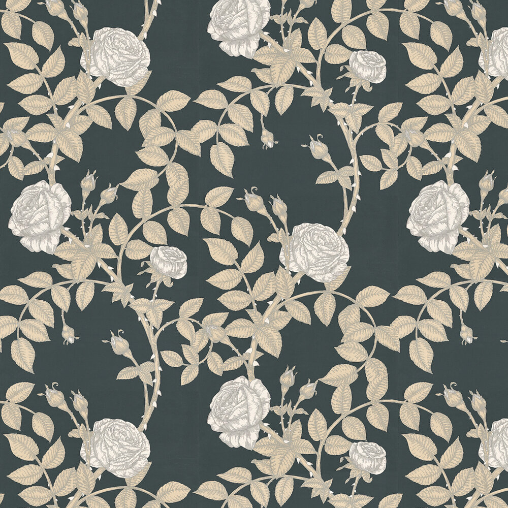 McGegan Rose Wallpaper - Black - by Timorous Beasties