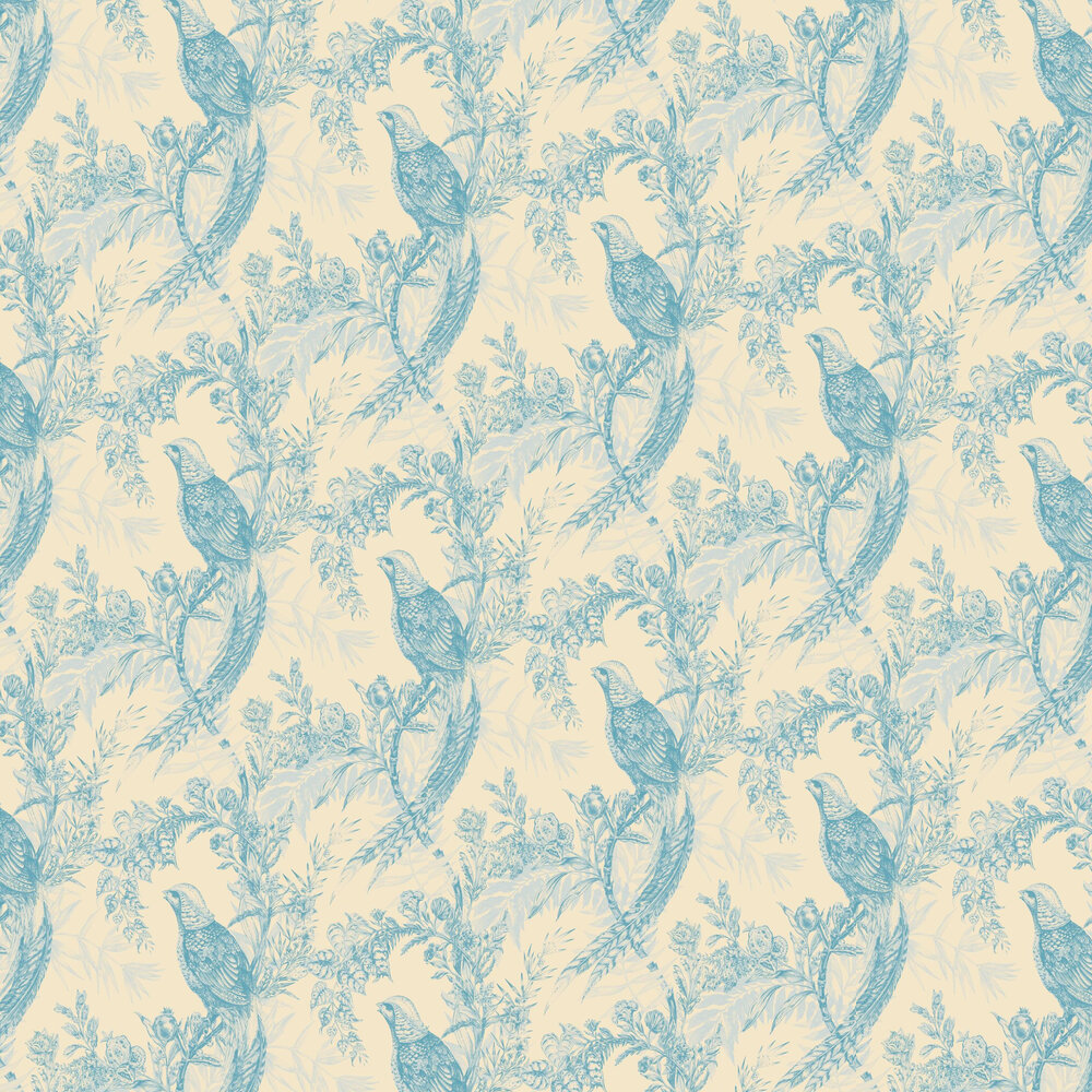 Pheasant Wallpaper - Blue / Cream - by Timorous Beasties