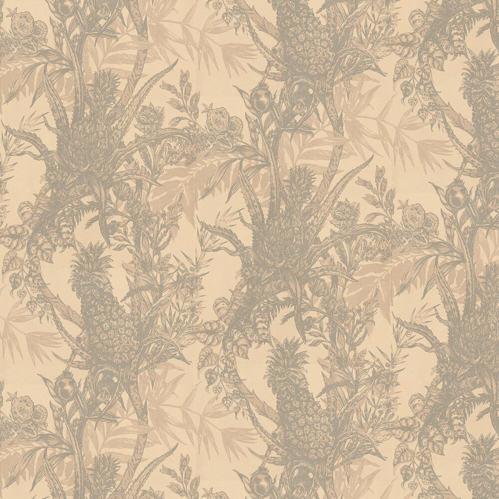 Pineapple Wallpaper - Grey / Cream - by Timorous Beasties