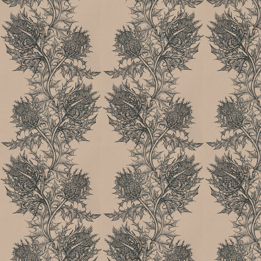 Timorous Beasties Thistle Black / Stone Wallpaper - Product code: HS/THL/4008/SNW