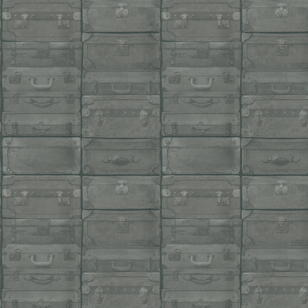 Luggage Wallpaper - Gunmetal - by Andrew Martin