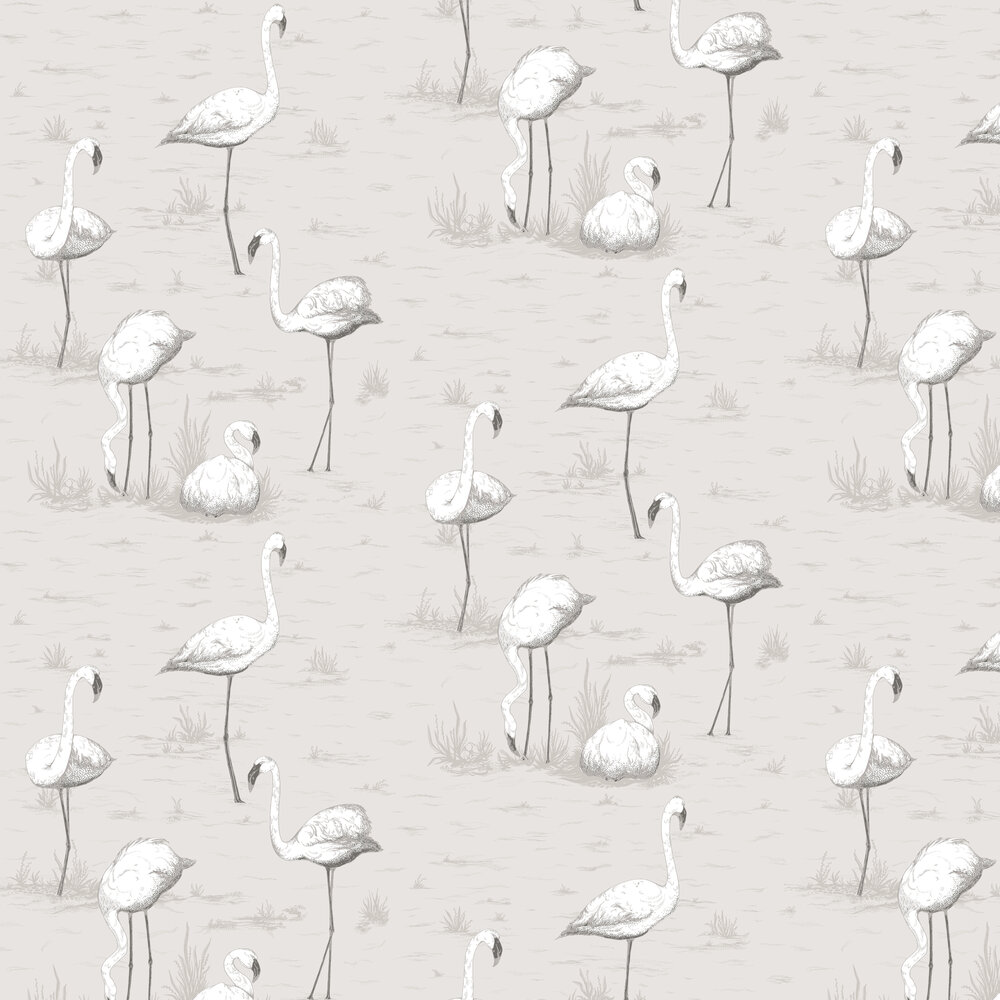 Flamingos Wallpaper - Soft Grey - by Cole & Son