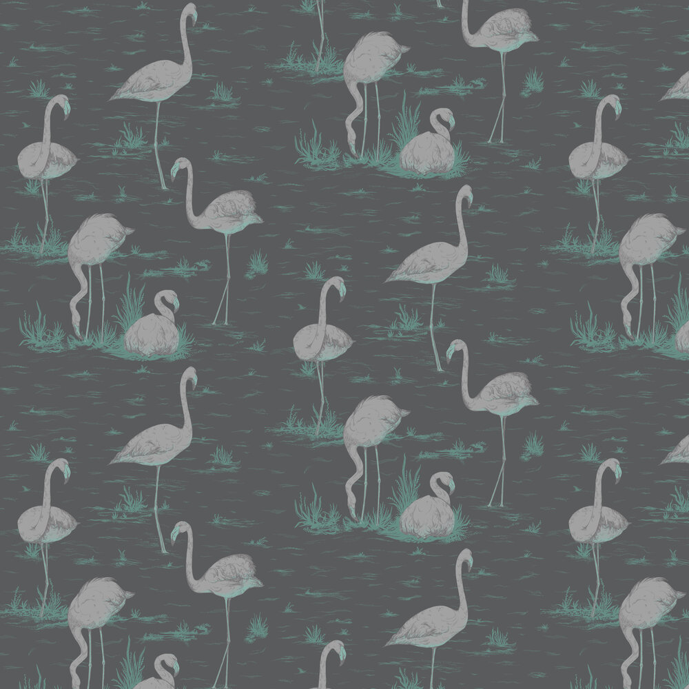 Flamingos Wallpaper - Ink - by Cole & Son