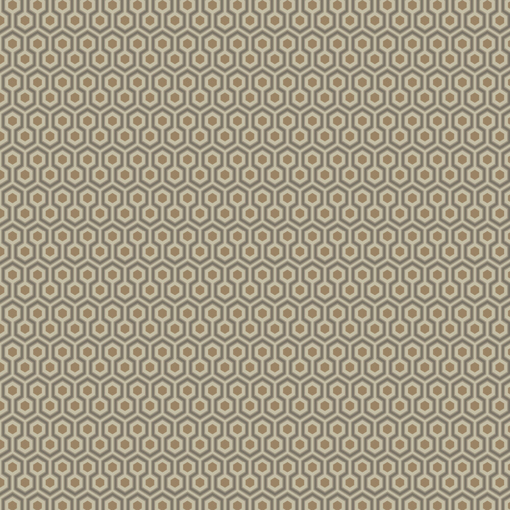 Hicks' Hexagon Wallpaper - Taupe & Bronze - by Cole & Son