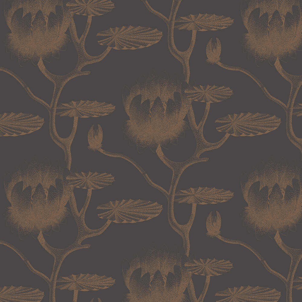 Lily Wallpaper - Bronze & Black - by Cole & Son