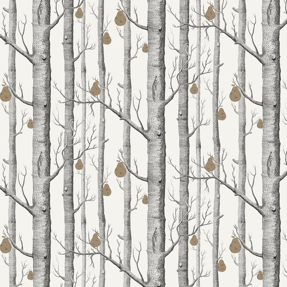 Cole & Son Woods and Pears Black & White Wallpaper - Product code: 95/5027