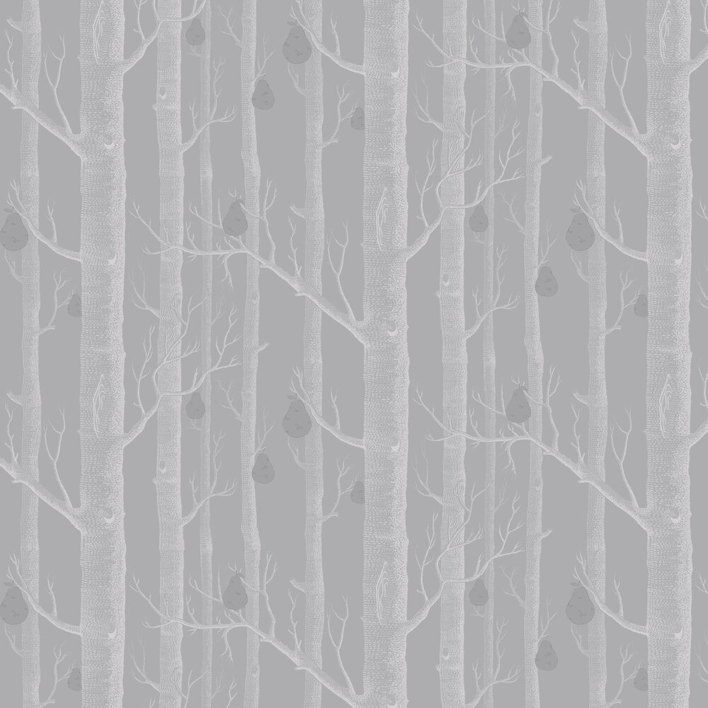 Woods and Pears Wallpaper - White & Soft Grey - by Cole & Son