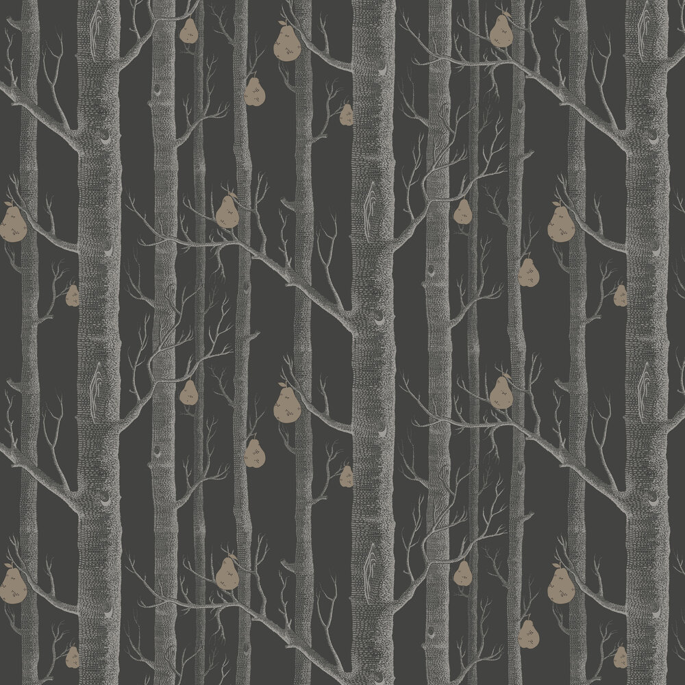 Woods and Pears Wallpaper - Black - by Cole & Son
