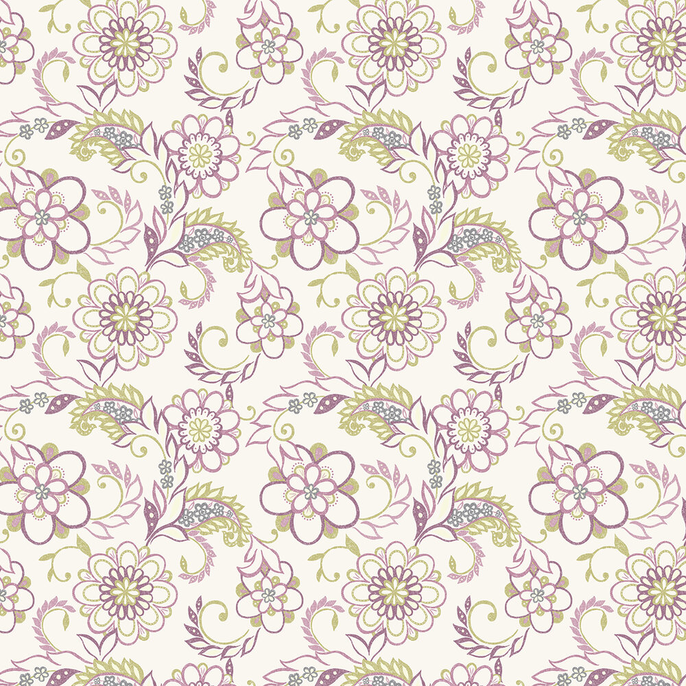 Jane Wallpaper - Damson / Green - by Albany