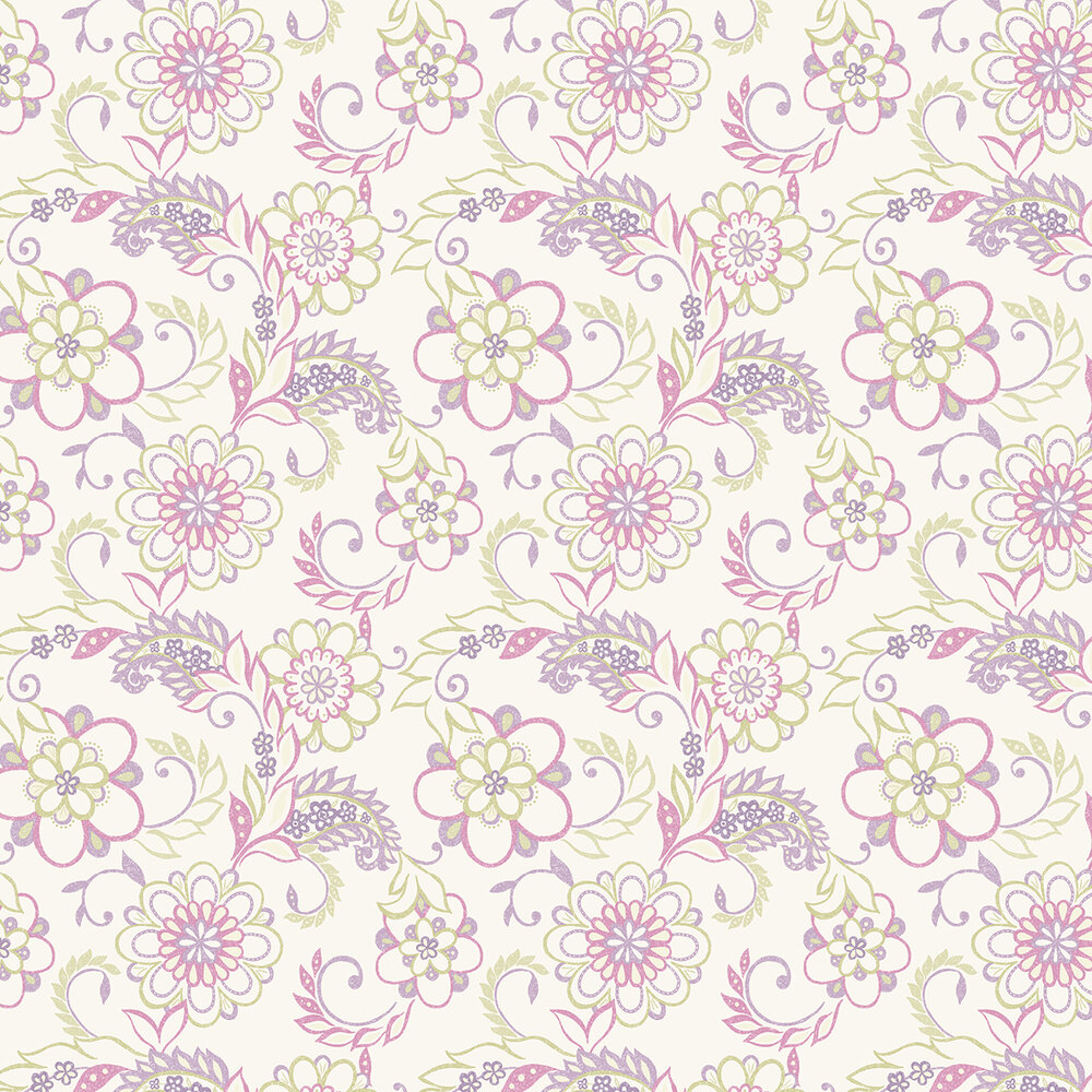 Jane Wallpaper - Green / Pink / Purple - by Albany