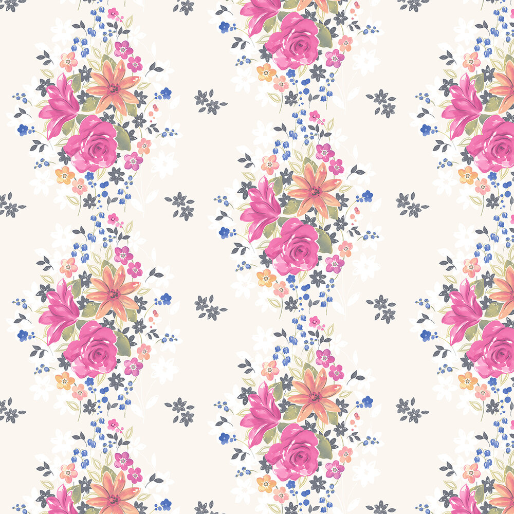 Teresa Wallpaper - Pink Multi - by Albany