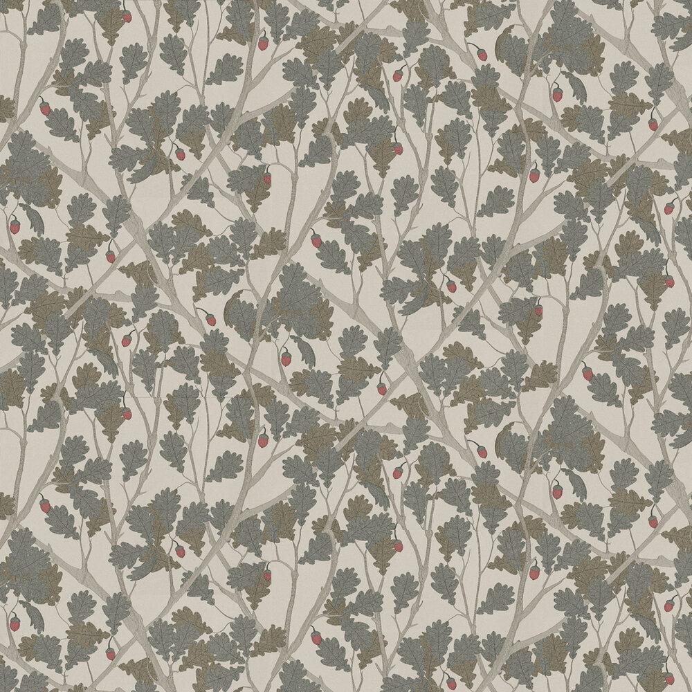 Osborne & Little Feuille De Chene Taupe / Gilver Wallpaper - Product code: W6430-01