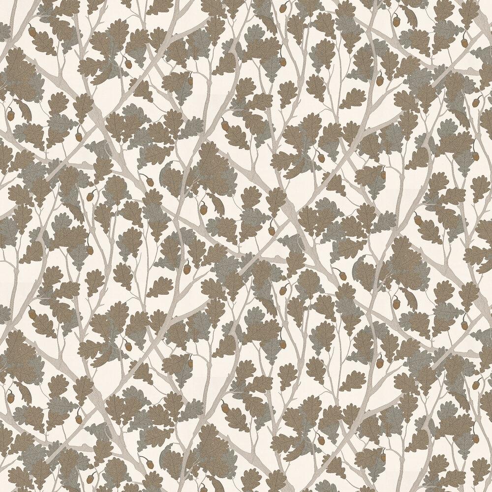 Osborne & Little Feuille De Chene Ivory / Gilver Wallpaper - Product code: W6430-05