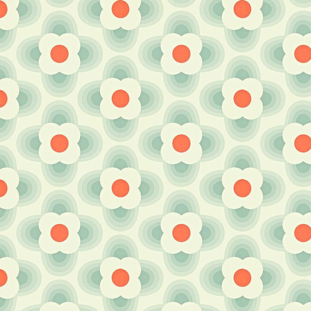 Orla Kiely Striped Petal Orange / Blue Wallpaper - Product code: 110404