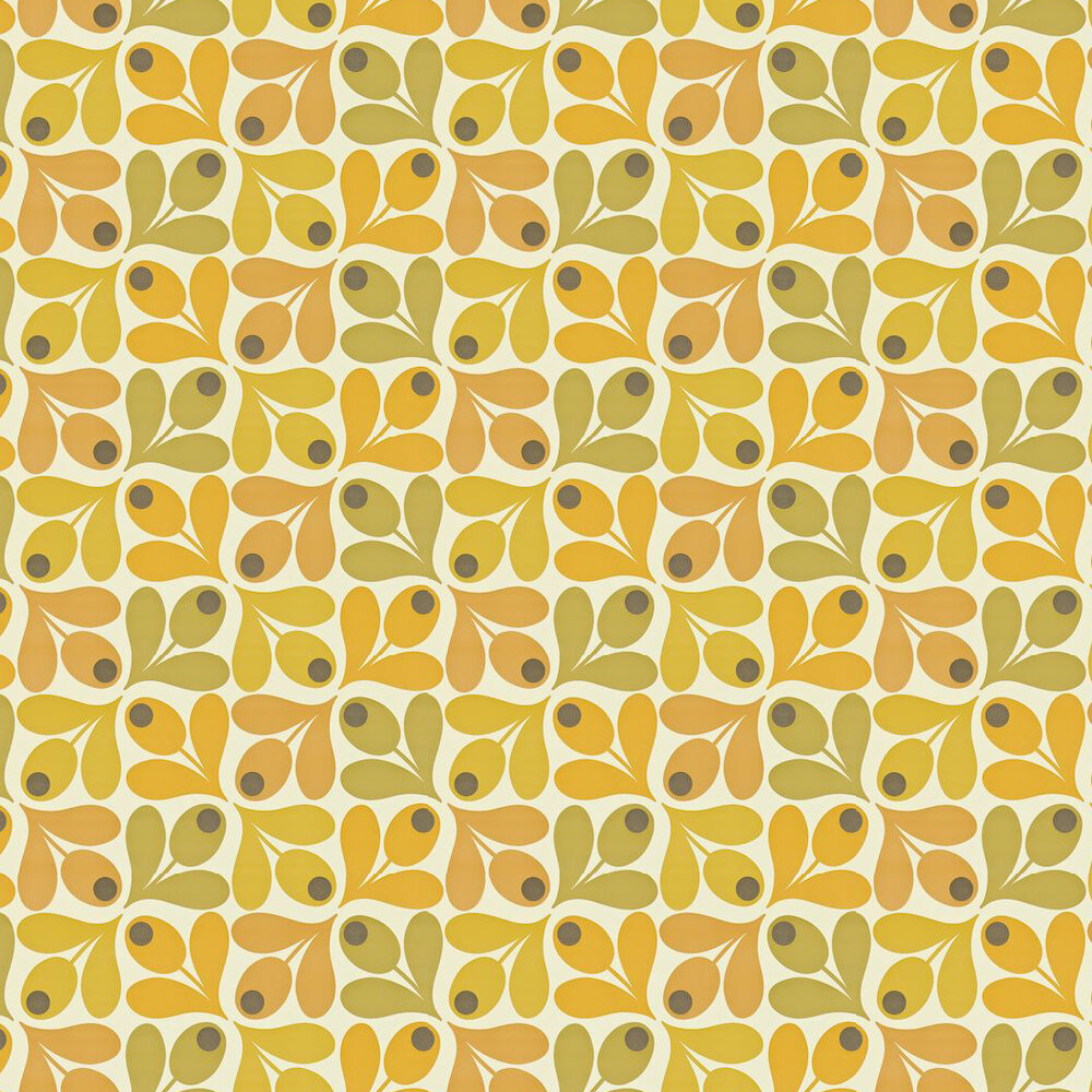 Multi Acorn Spot Wallpaper - Orange / Yellow / Green - by Orla Kiely
