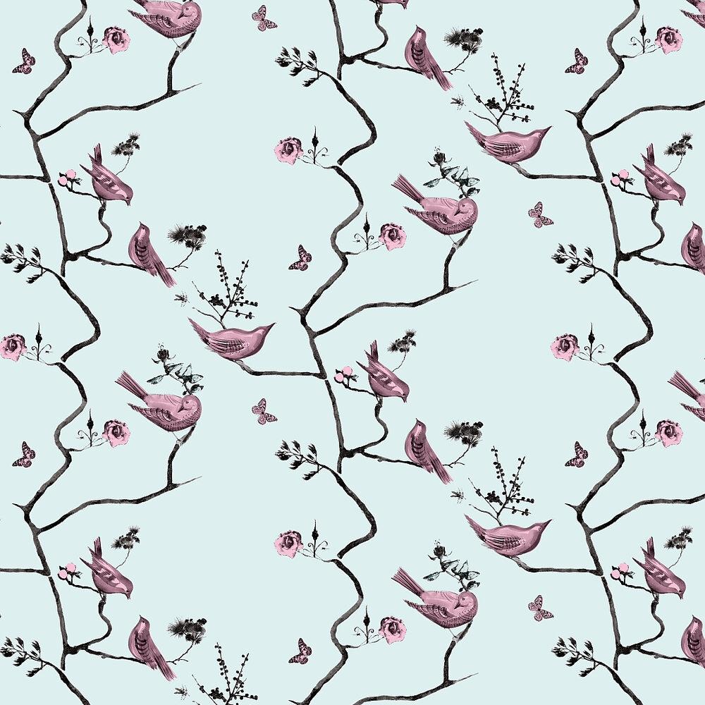 Louise Body Pavilion Birds Blue Pink / Pale Blue Wallpaper - Product code: Pavilion Birds Blue