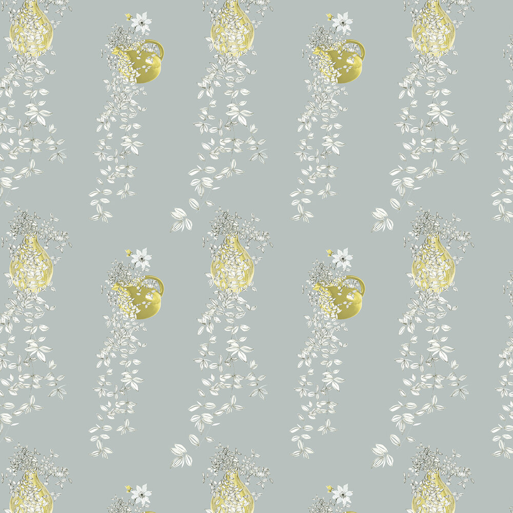 Louise Body Traily Plant Silver Green / Silver / Pale Blue Wallpaper - Product code: Traily Plant Silver