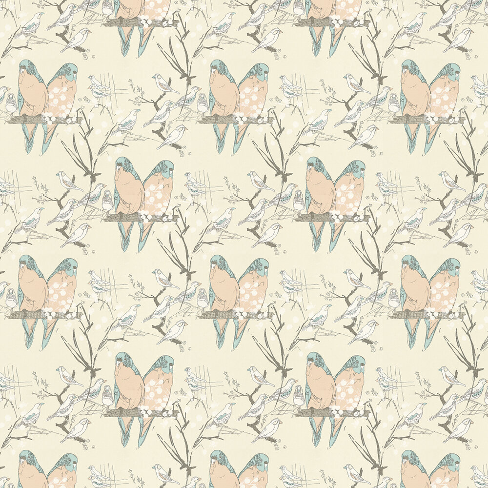 Budgie Wallpaper - Blue / Peach - by Belynda Sharples