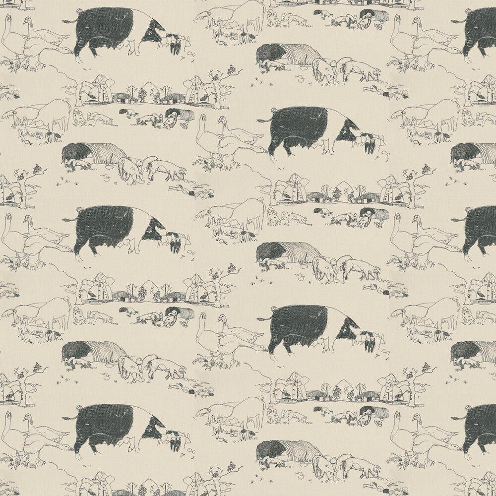 Pig Wallpaper - Black / Beige - by Belynda Sharples