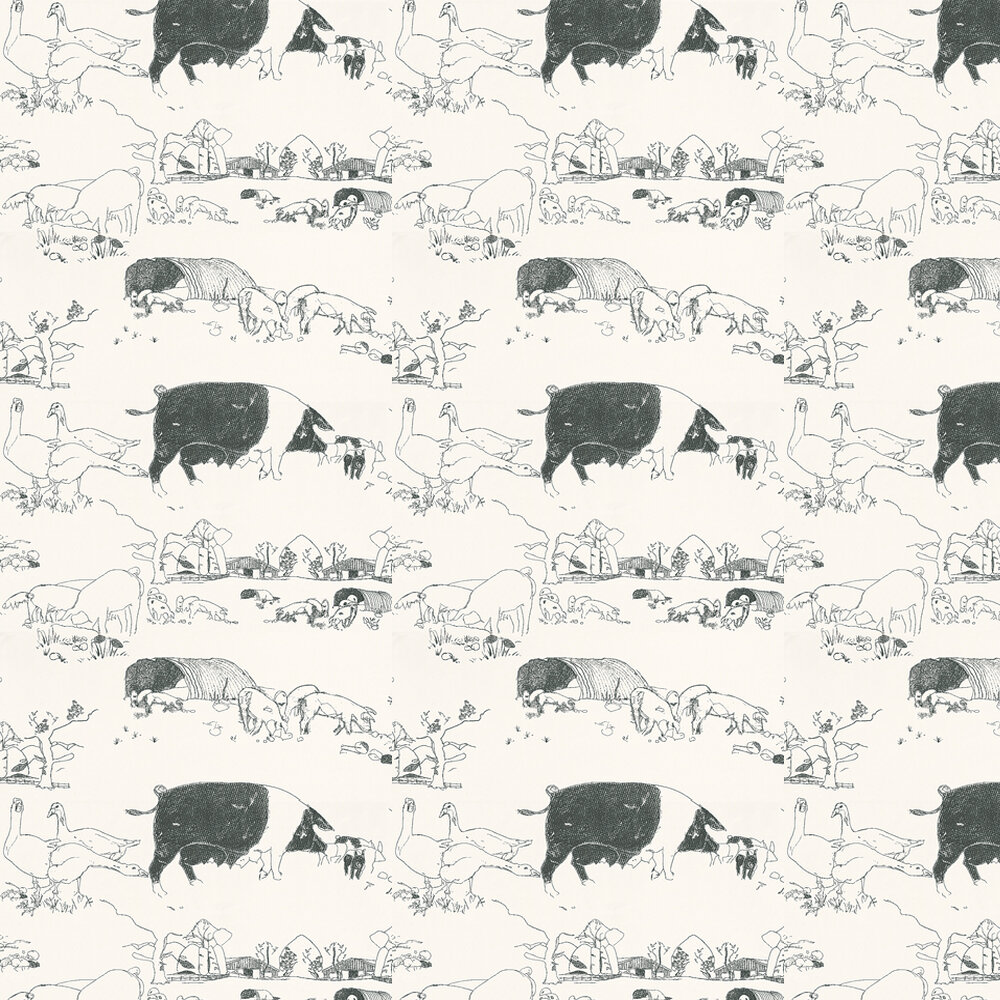 Pig Wallpaper - Black / White - by Belynda Sharples