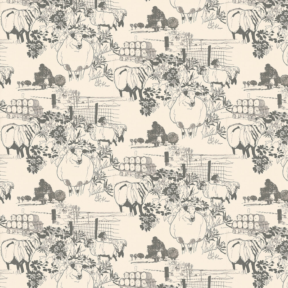 Sheep Wallpaper - Grey / Off White - by Belynda Sharples