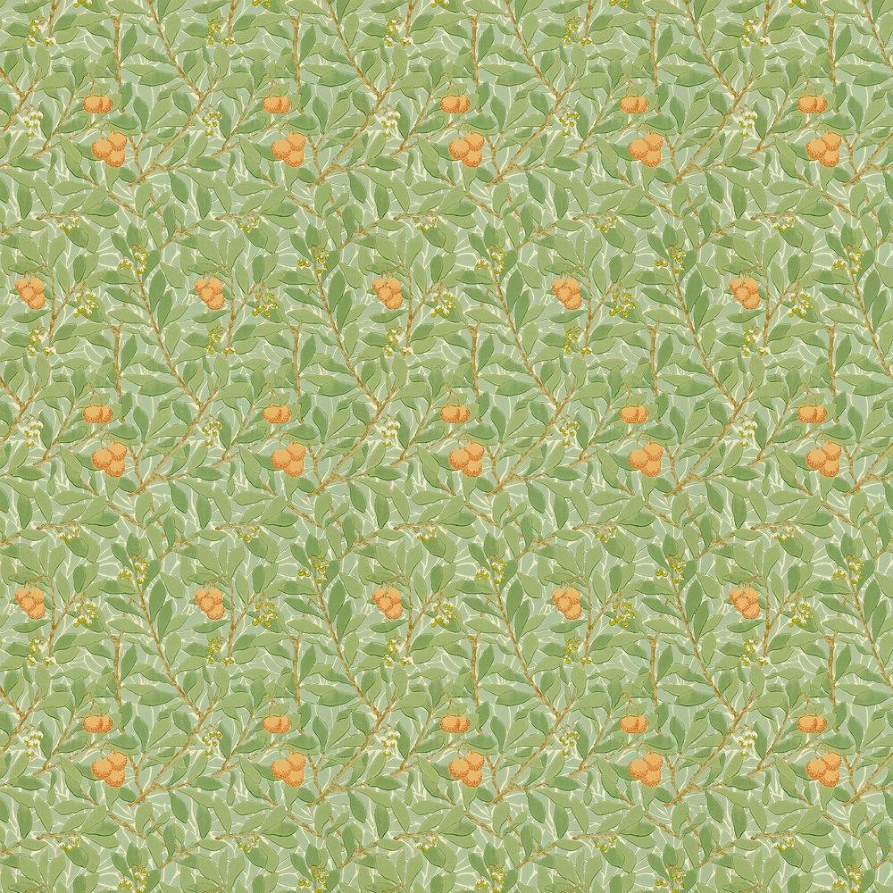 Arbutus Wallpaper - Green / Cream / Orange - by Morris