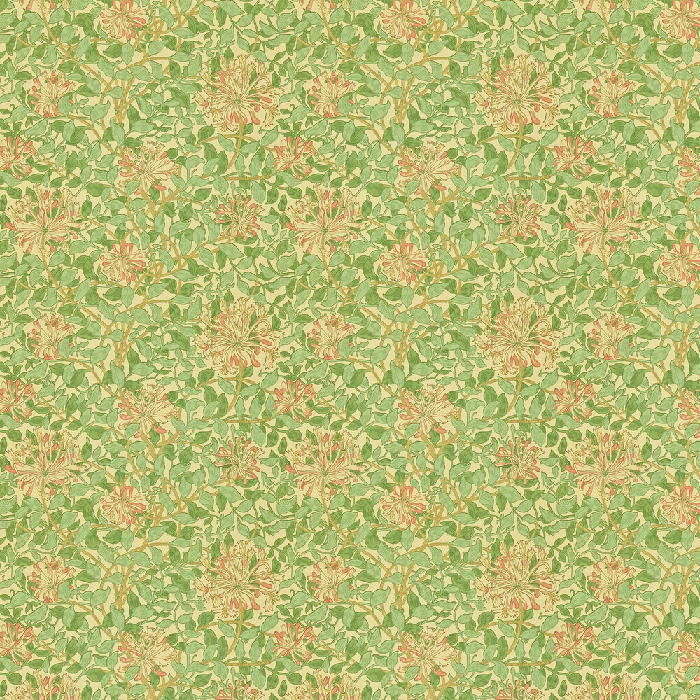 Honeysuckle Wallpaper - Green / Coral / Pink - by Morris