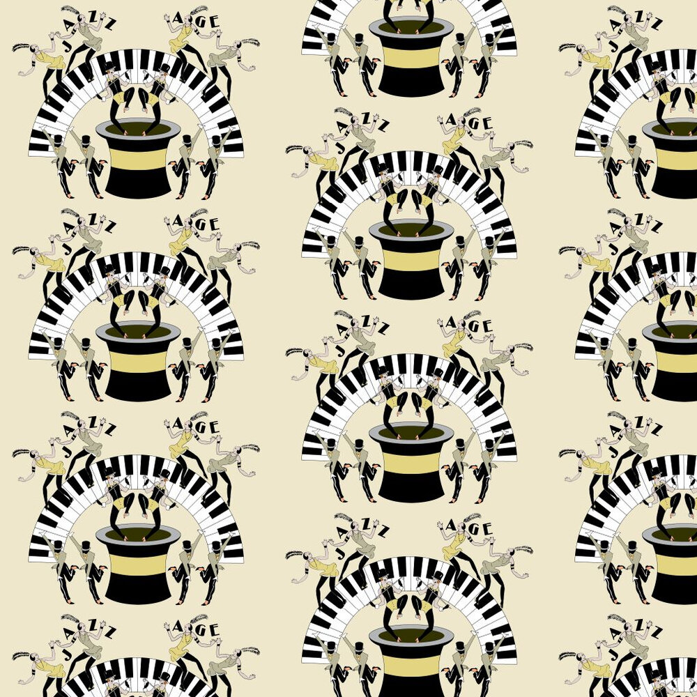 Jazz Age 01Y Wallpaper - Black / Pale Lemon - by Art Decor Designs