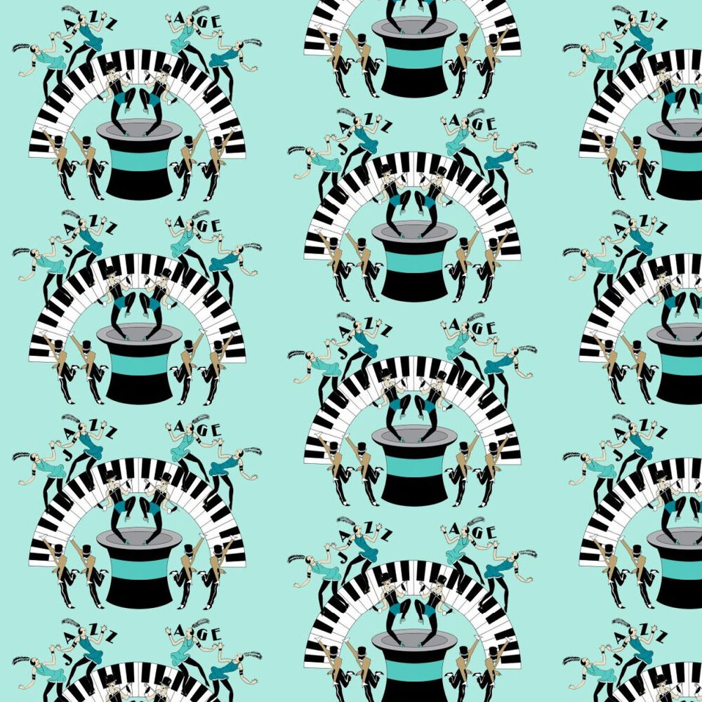 Jazz Age 02G Wallpaper - Black / Blue Green - by Art Decor Designs