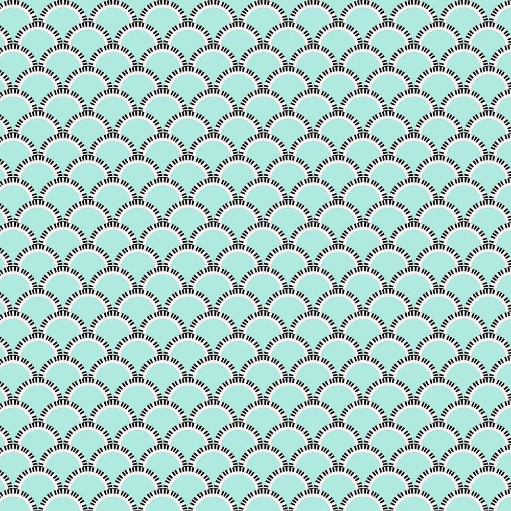 Jazz Age 02G Comp Wallpaper - Blue Green / Black - by Art Decor Designs
