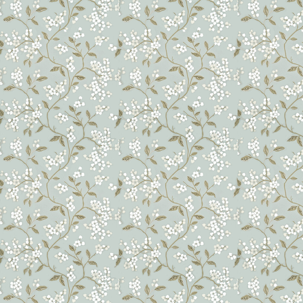 Apple Blossom Wallpaper - Aqua / Gilver - by G P & J Baker