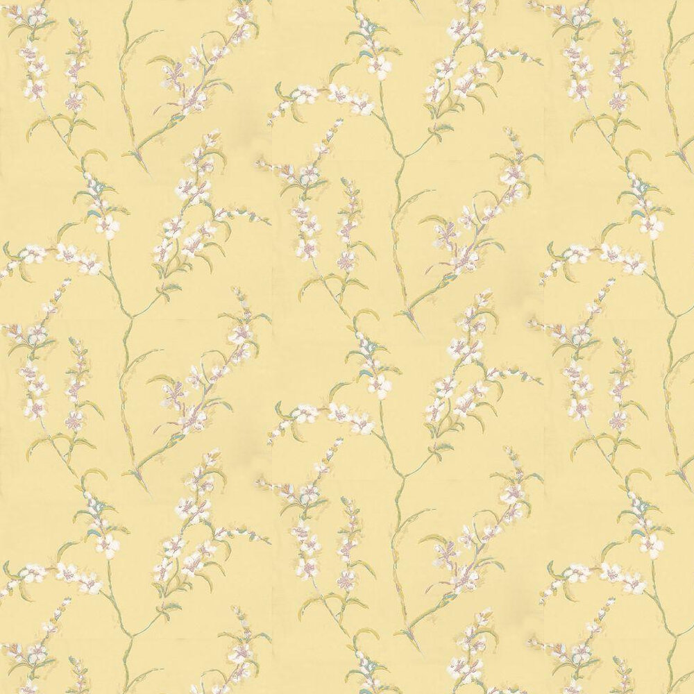 Japonica Wallpaper - Yellow / Pink / White - by Anna French