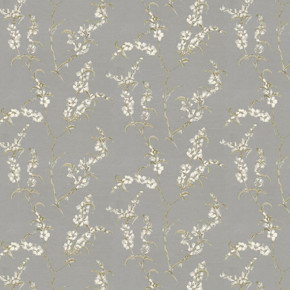 Japonica Wallpaper - White / Green / Metallic Silver - by Anna French