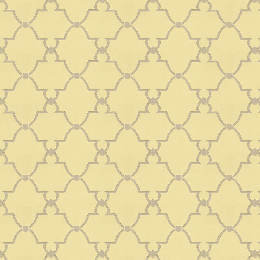 Lucian Wallpaper - Yellow / Metallic Silver - by Anna French