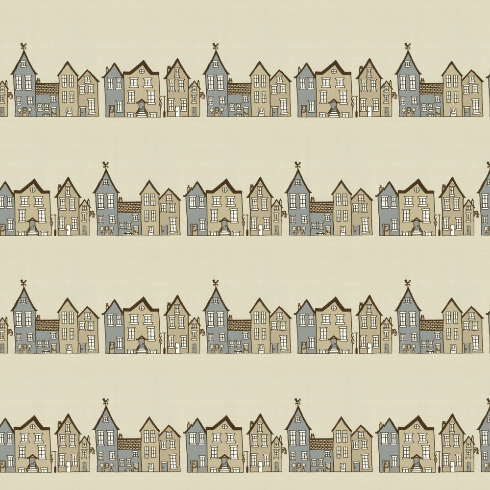 The Street -Biscuit Wallpaper - Beige - by Hubbard and Reenie