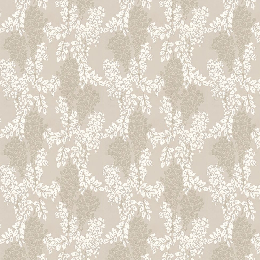 Wisteria Wallpaper - Off White / Taupe - by Farrow & Ball