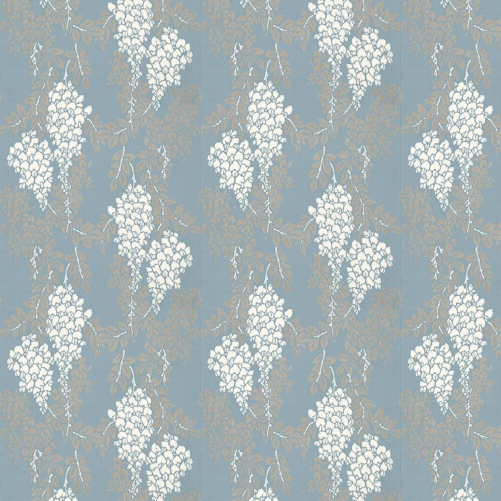 Farrow & Ball Wisteria White / Metallic Gilver / Blue Wallpaper - Product code: BP 2218