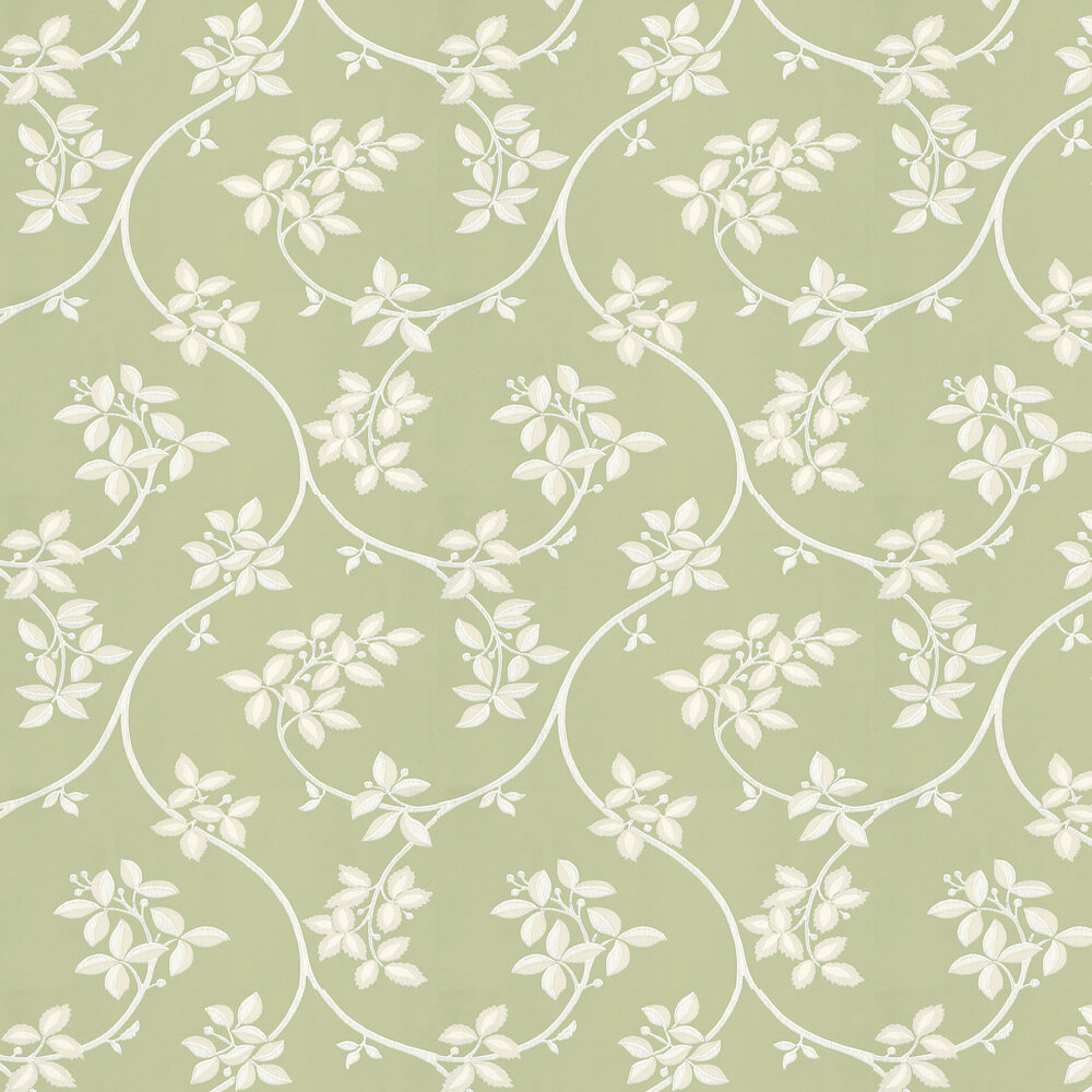 Ringwold Wallpaper - White / Green - by Farrow & Ball