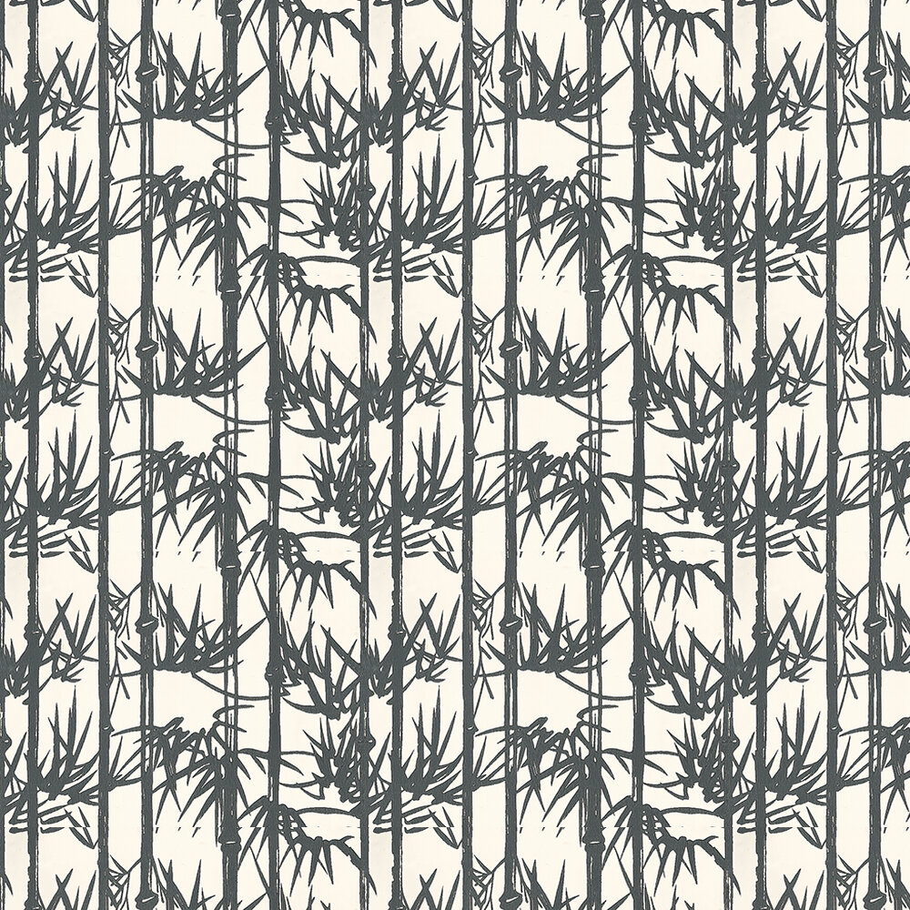 Bamboo Wallpaper - Black and white - by Farrow & Ball