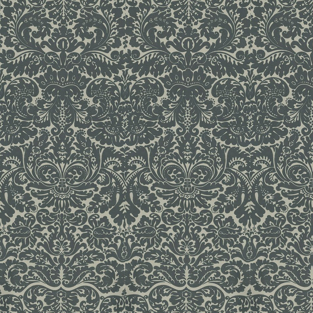 Silvergate Wallpaper - Black / Olive - by Farrow & Ball
