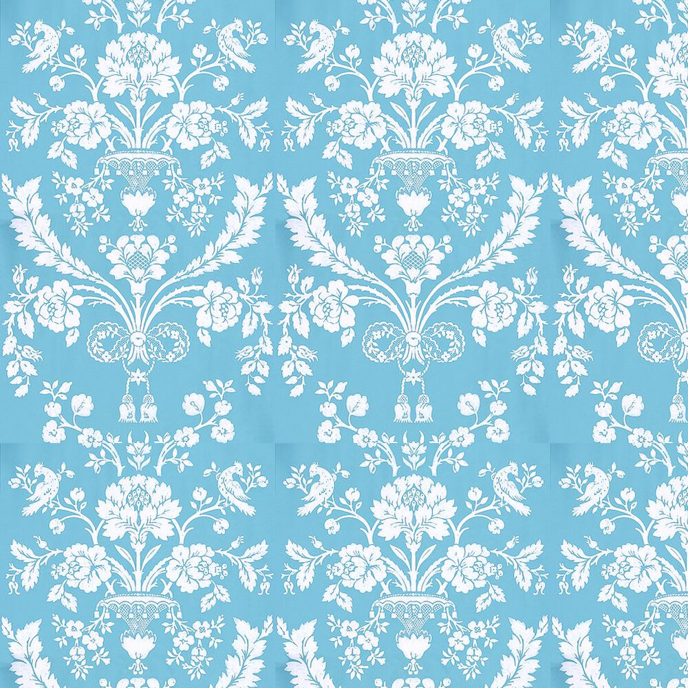 St Antoine Wallpaper - White / Blue - by Farrow & Ball