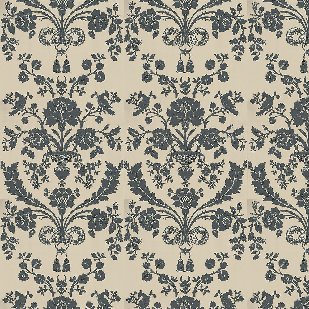 St Antoine Wallpaper - Black / Beige - by Farrow & Ball