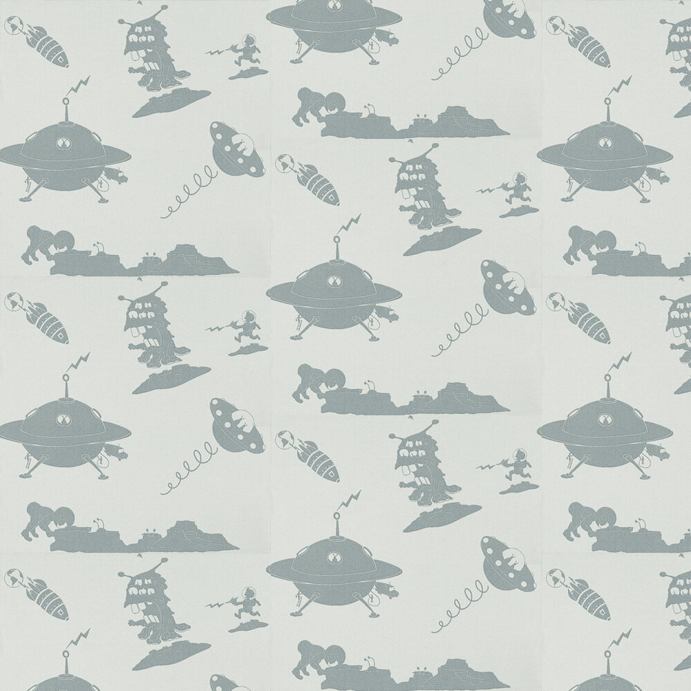 The Final Frontier Blue Wallpaper - Grey Blue - by PaperBoy