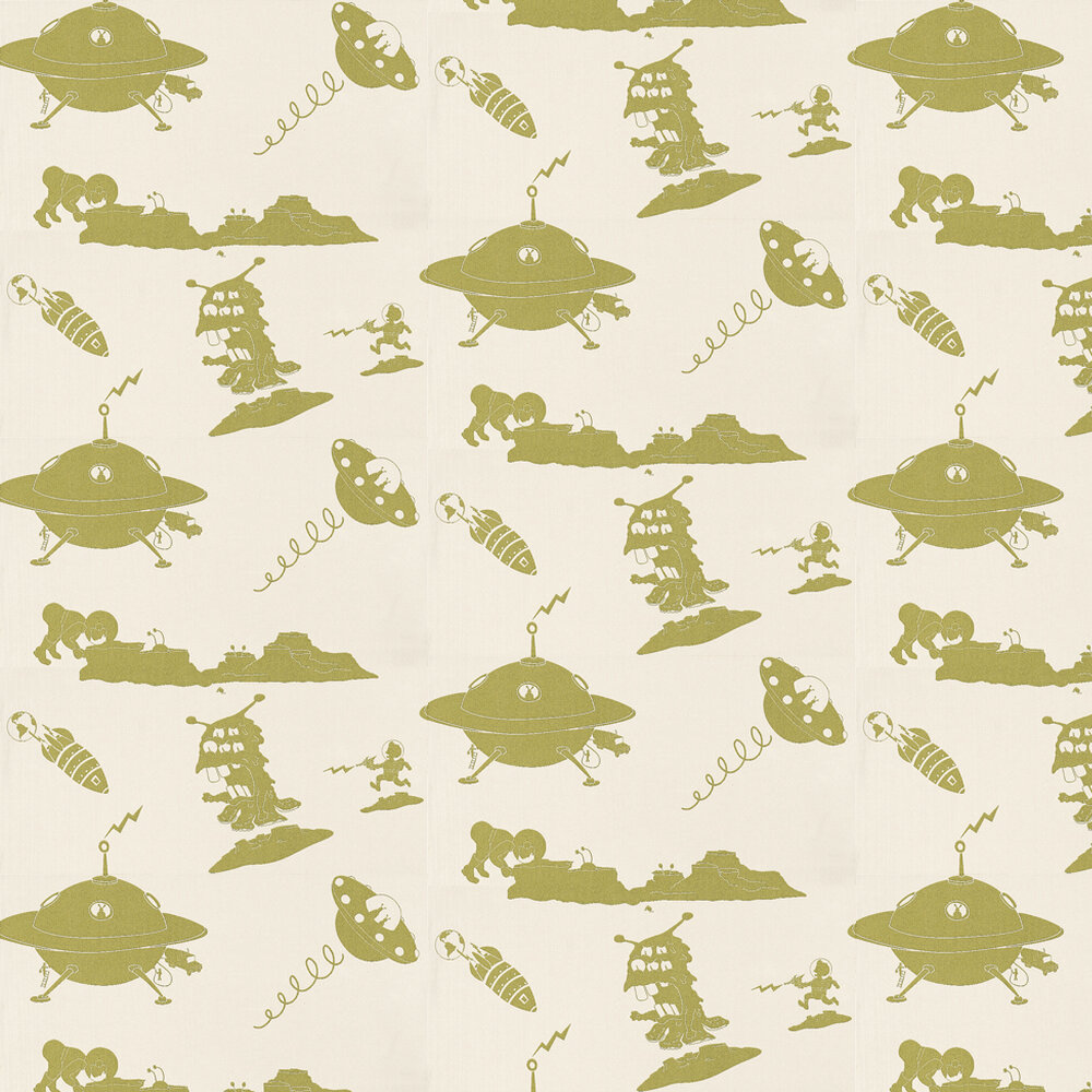 The Final Frontier Cream and Green Wallpaper - Cream / Green - by PaperBoy
