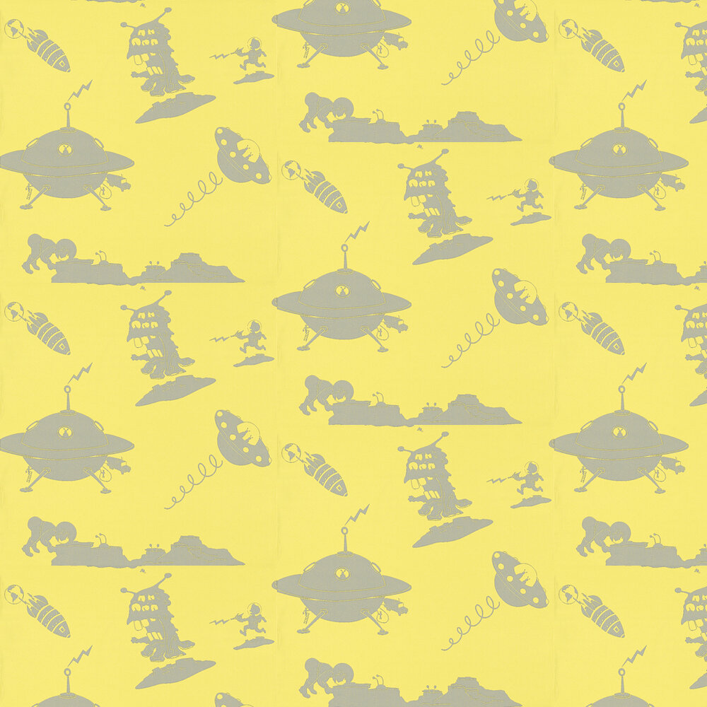The Final Frontier Yellow and Grey Wallpaper - Yellow / Grey - by PaperBoy