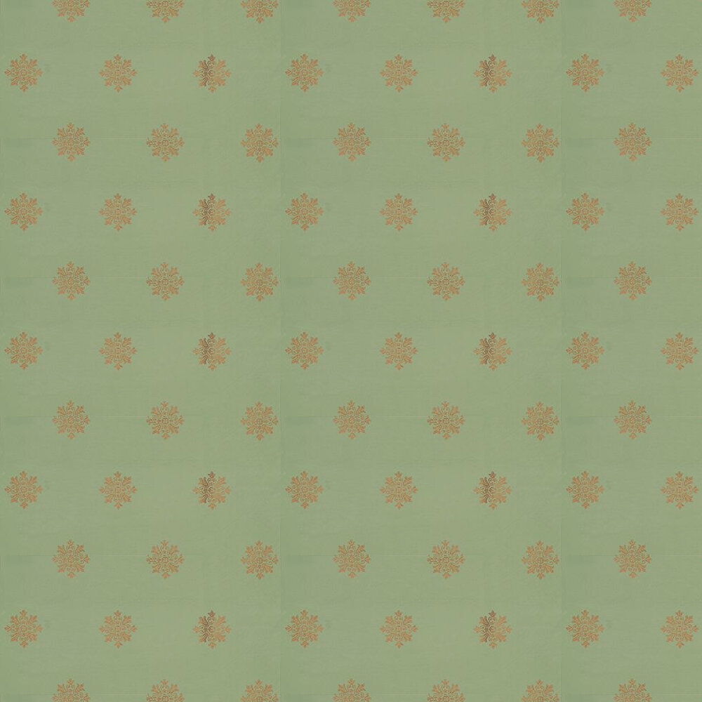 Farrow & Ball Brockhampton Star Metallic Gold / Green Wallpaper - Product code: BP 546