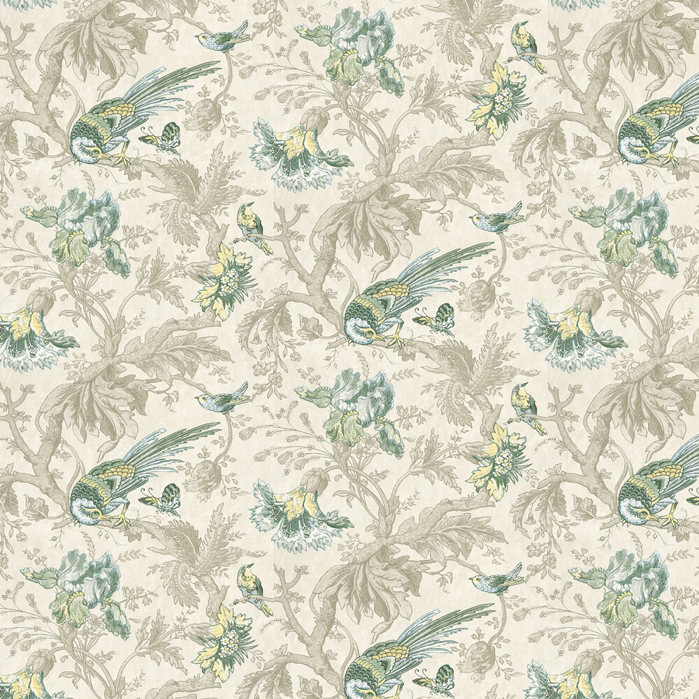 Little Greene Crowe Hall Lane Paradise Blue / Green / Grey Wallpaper - Product code: 0282CWPARAD