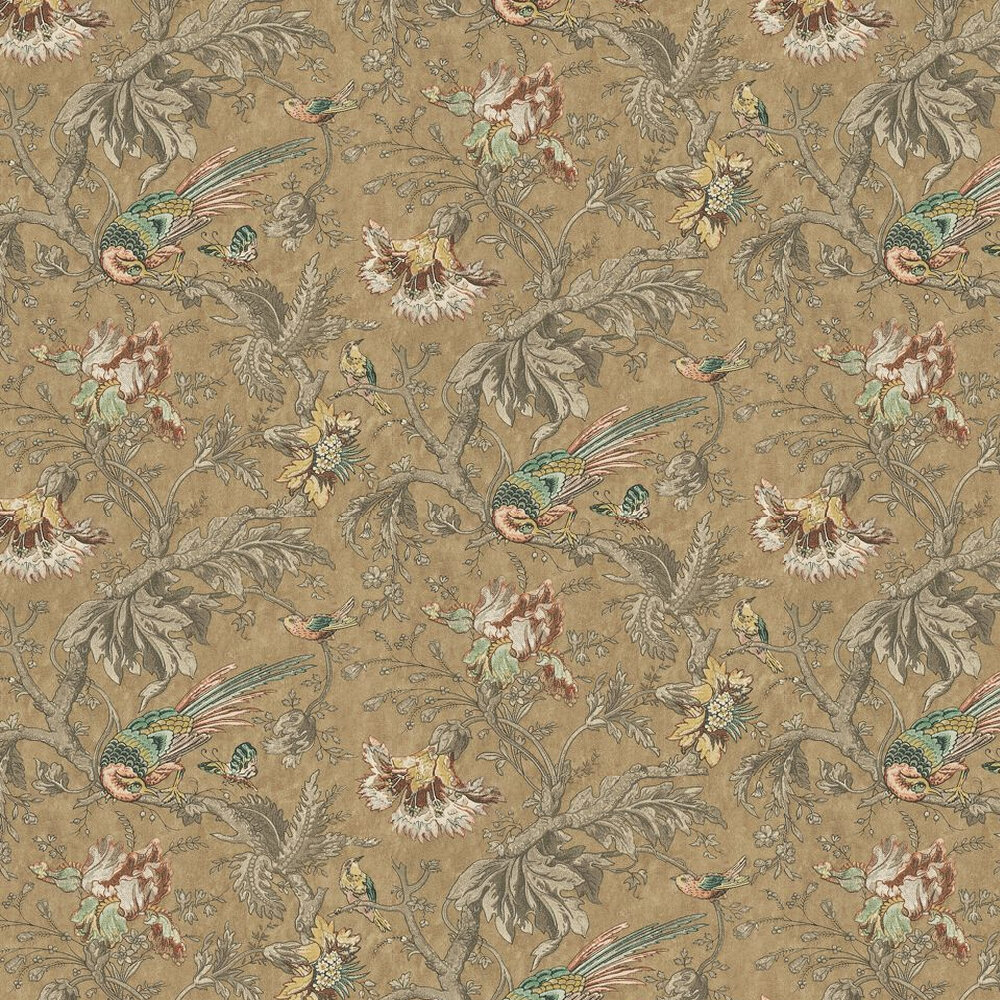 Little Greene Crowe Hall Lane Reade Orange / Green / Brown Wallpaper - Product code: 0282CWREADE